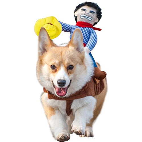 tume Dog Costume Clothes Pet Outfit Suit Cowboy Rider Style,Pet Dogs Cospaly Halloween, New Year Gift (L, Hat) ()
