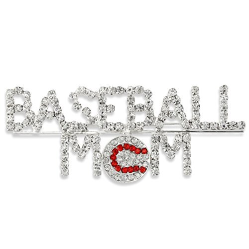Baseball Mom Script Silver Tone Pave Clear Red Crystal Stitch Pin Brooch by Heirloom Finds