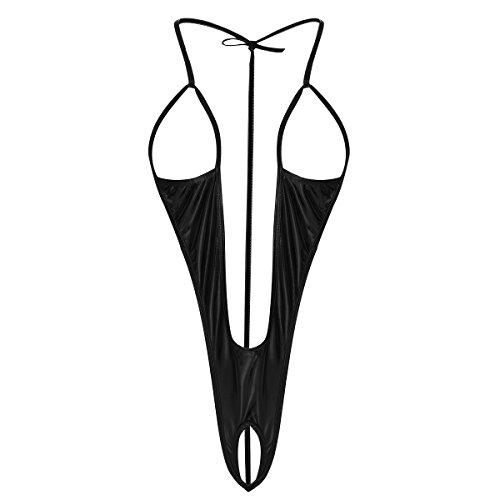 IWEMEK Damen Sexy Dessous Wetlook Glanz Teddy Lingerie Nachtwäsche Offen Ouvert Büstenhebe Reizwäsche Neckholder Rückenfrei Unterwäsche Bikini Bodysuit Stringbody Kostüm Schwarz ()