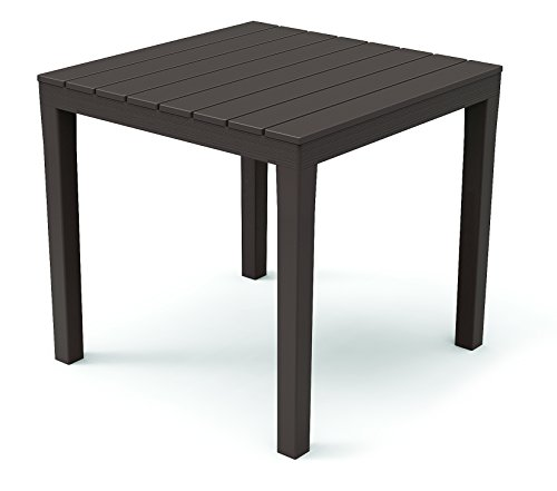 Kunststoff Gartentisch Bali Mokka mit Platte in Holz Optik, 80 x 80 cm, von IPAE Progarden, Made IN Europe