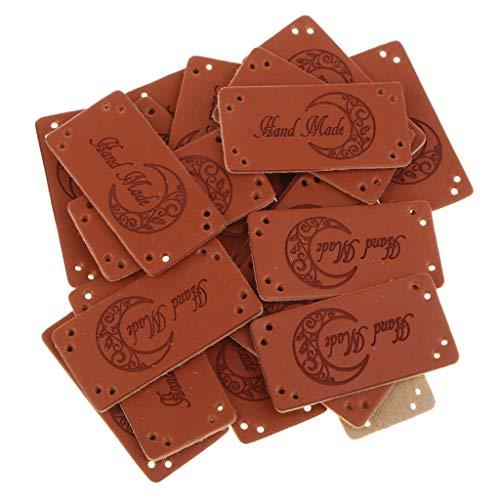 non-brand Sharplace 20pcs PU Leder Tags, PU-Leder Etiketten Handgefertigte Lederetiketten, Handmade Leather Labels Tags Knopf, DIY Nähen Handwerk - Mond -