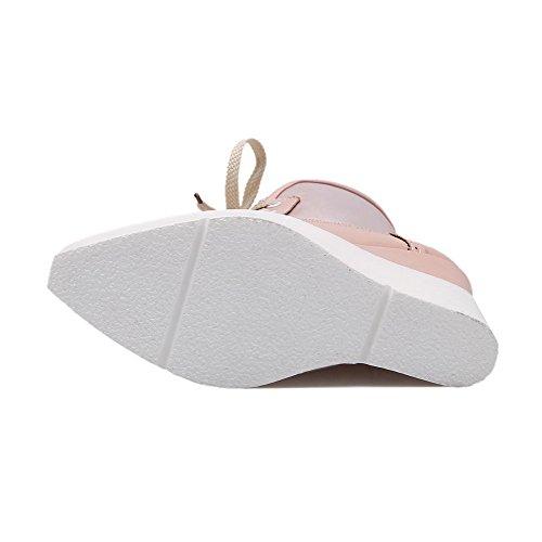 AgooLar Damen Schnüren Hoher Absatz Pu Leder Rein Niedrig-Spitze Stiefel Pink