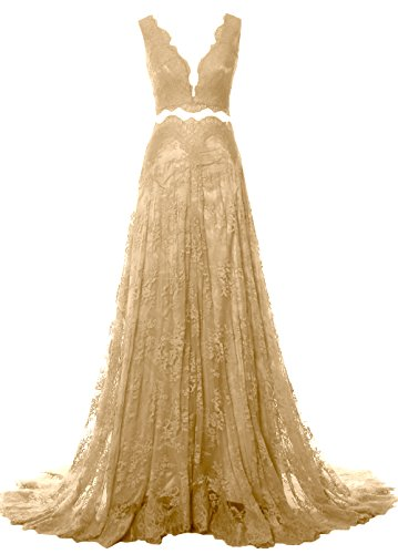 MACloth Women 2 Piece Long Prom Dress Straps V Neck Lace Formal Evening Gown Champagner
