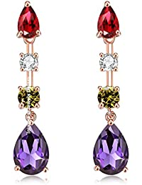 Jewels Galaxy Crystal Elements Exclusive Sparkling Multicolor Splendid Designed Drop Earrings For Women/Girls