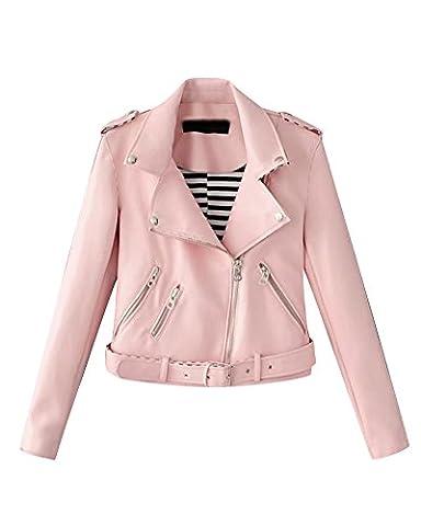 Femme Veste En Cuir Biker Court Veste De Moto En Cuir Zipper Faux Cuir Manteau Biker Veste Pink M