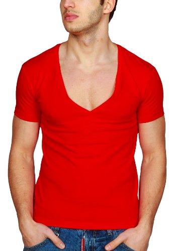 c36a1532830008 Herren T-Shirt Young   Rich Slimfit Tiefer V-Ausschnitt Deep in verschiedenen  Farben