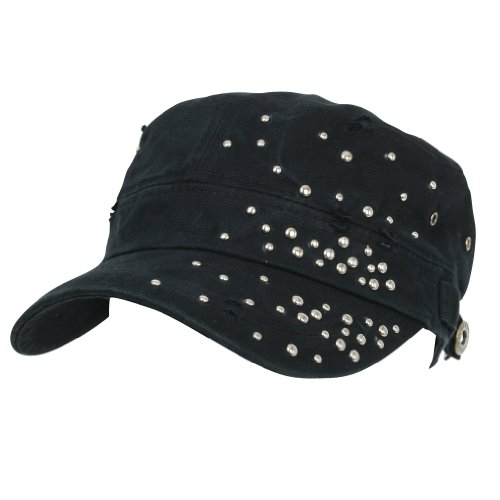 ililily Distressed Military Silver Round Studs Cadet Cap Flex-fit Army Style Hut (cadet-531-1) (Military Stud)
