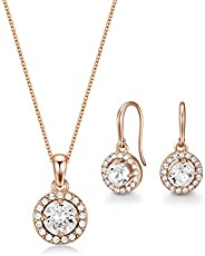 Mestige Women Glass Rose Gold Nylah Set with Swarovski Crystals