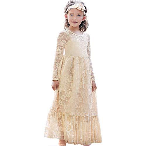 CQDY Prinzessin Spitzenkleid für Mädchen Champagner Hochzeit Blumen Kleid Partykleid mit großen Bogen (Hochzeit Champagner Kleider)