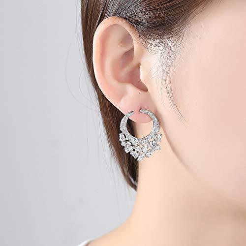 GEDASHU Orecchino Brillante Elegante Forma Rotonda Grandi Orecchini a Bottone per Le Donne Gioielli di Moda con zirconi ovali