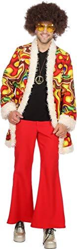 M&m Für Kostüm Rot Poncho Erwachsene - Wilbers 5398 Hippie-Kostüm Jimmy Herren Deluxe Psychodelic Lavalampe Hochwertige Verkleidung Gruppenkostüm Partnerkostüm Männer Größe 56 Rot/Gelb