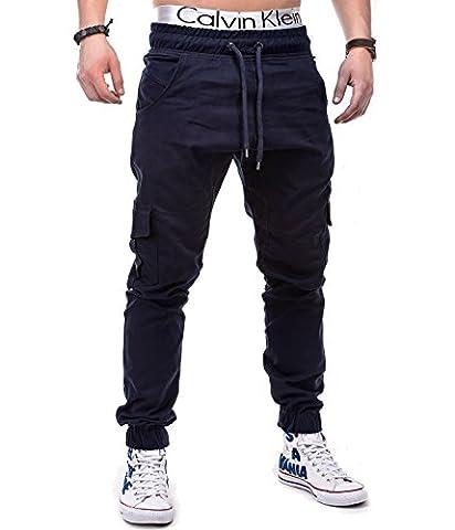 BetterStylz MasonBZ Herren Cargo Chino Jogger Hose Pant Slim Fit Cargotaschen Army Style 8 Farben (XS-5XL) (X-Small, Navy Blau)