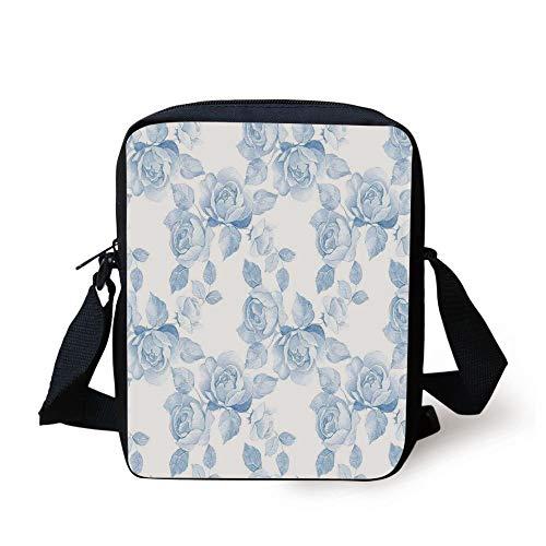 KLYDH Roses Decorations,Faint Faded Floral Dreamy Branch Plant Fashion Pastel Spring Design Home Decor,Soft Blue White Print Kids Crossbody Messenger Bag Purse