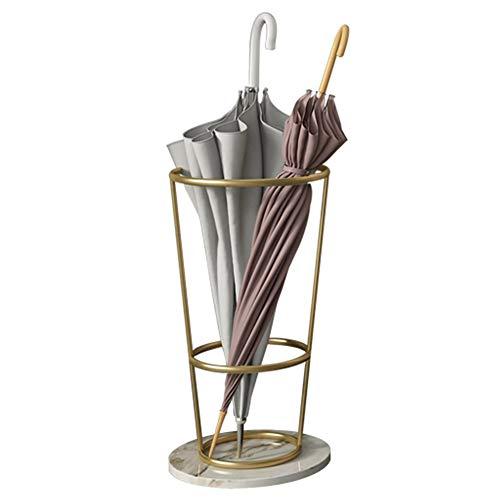Schirmständer, Moderner Metallschirmständer, Eingangsrohrröhrenhalter mit Marmorboden und Tropfschale (Farbe : Weiß)