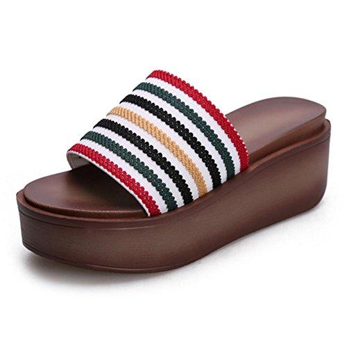 pengweiMuffin Bottom Una parola trascina i pattini del tallone di pendenza dei sandali della signora di estate 1