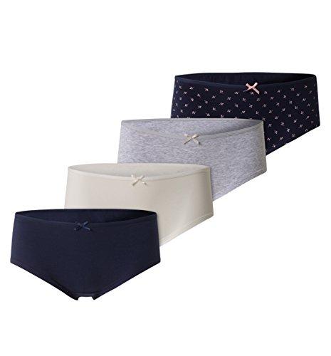 C&A Damen Hipster Unterhosen Unterwäsche 4-er Pack Multipack Bio - Baumwolle gemustert bunt Größe L