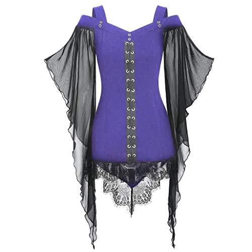 Lace Tops Frauen Gothic Criss Cross Insert Schmetterling Ärmel T-Shirt Plus Size Spitze der, die das Halloween-Hexenoberteil zusammennäht Kleid ()