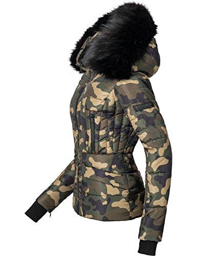 fake fell jacke Navahoo Damen Winter Jacke Steppjacke Adele (vegan hergestellt) Camouflage Gr. M