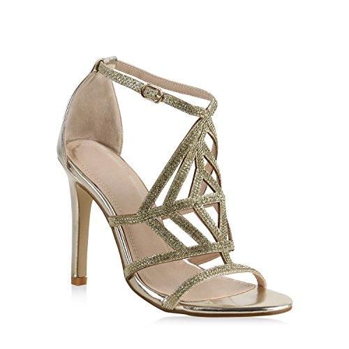 Damen Sandaletten High Heels Strass Cut-Outs Stilettos Party Schuh 159605 Gold 38 Flandell Cut Out Stiletto