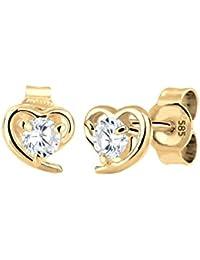 Elli Premium Damen-Ohrstecker Herz 585 Gelbgold 585 Zirkonia weiß Brillantschliff - 0309762215