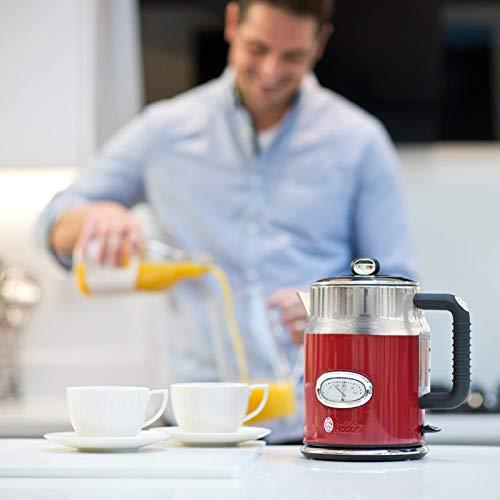 Russell Hobbs Retro Ribbon Red 21670-70 Wasserkocher 2400 W mit  stylischer Wassertemperaturanzeige Schnellkochfunktion, rot - 6