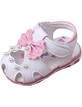 Schuhe für Baby Mädchen - LED Light Luminous Sandalen - Fashion Sneaker - Pearl Bowknot Schuhe für Kinder rutschfester...