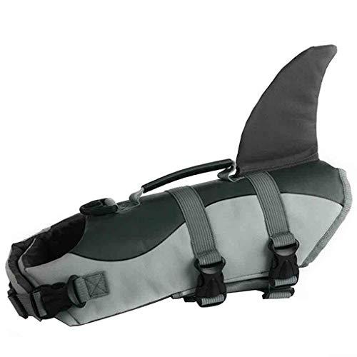 TDFGCR Pet Dog Life Schwimmen Jacke Shark Float Weste Auftriebshilfe Weste Kostüm-Grau s -