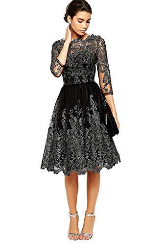COCO clothing Damen Vintage Kleid Elegant Wort Kragen Brautjungfernkleid Hoch Taille Schlank...