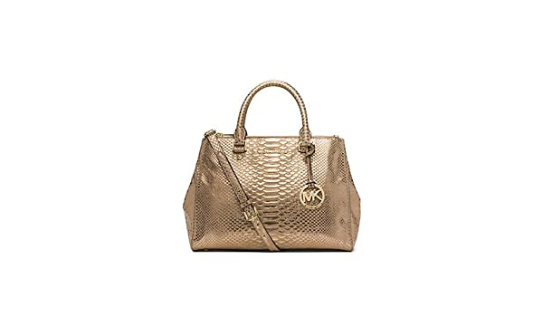 fb1209249 Brand New Original MK Michael Kors Gold Sutton Medium Python Pattern  Embossed Leather Satchel Bag: Amazon.co.uk: Shoes & Bags