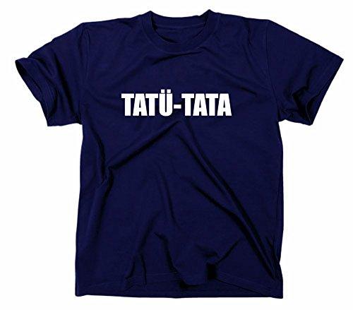 Feuerwehr-erwachsenen T-shirt (Tatü Tata Fun T-Shirt, Polizei Feuerwehr Notarzt Notruf, 112 110, XXL, navy)