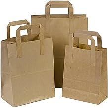 "25pequeño papel Kraft bolsas con asas SOS bloque tamaño inferior 7x 3,5x 8,5""fiesta de comida rápida 80G/m²"