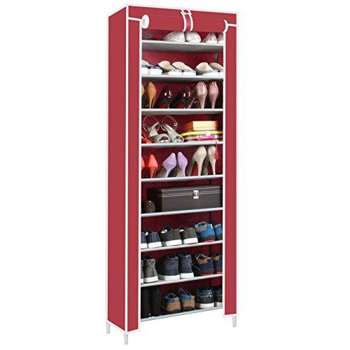 Ducomi® scarpiera armadio cabina guardaroba in acciaio e tessuto (l - 9 ripiani, red)