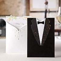 20x Tarjetas de Invitación de la Boda de wishmade,encobrada ,cóncava y convexa con Vestidos Retro de Novio y Novia
