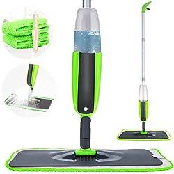 Balai Lave Sol avec Vaporisateur, Tencoz Balai pulvérisateur Rotation à 360 ° avec 2 serpillères interchangeables et lavables et 1 réservoir, balai serpillère pour la maison (Gris-Vert) gris/vert