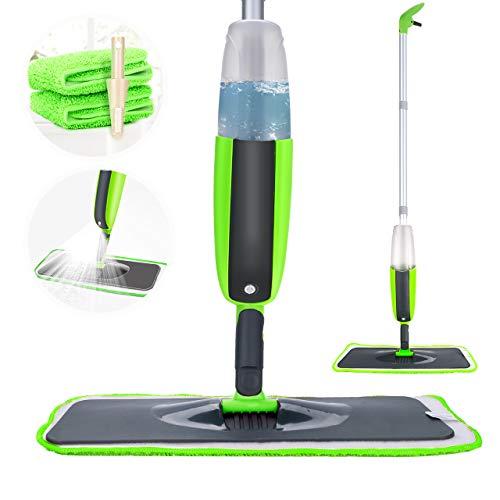 Tencoz Spray Mop Fregona con vaporizador Integrado Limpiador de Ventanas y Escoba Barredora de Empuje...