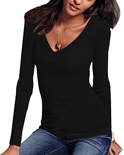 Femmes De Couleur Unie Blouse Chemise Lâche Manches Longues V-Cou Shirt Noir