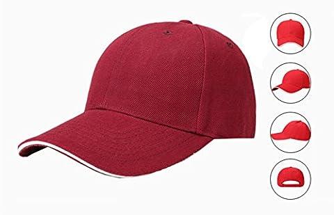NBD® Bonnet Casquette De Baseball Mixte, Casual Baseball Cotton Cap & Hat mode extérieur pour hommes et femmes, Casquette de Baseball réglable- Hip-Hop en Rouge