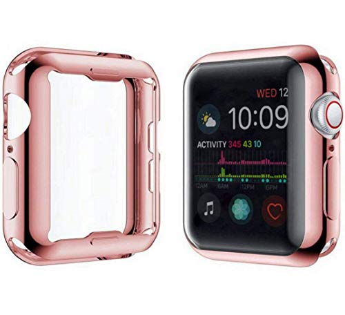 YoLin [2-Pack] Apple Watch Series 5 / Series 4 Schutzhülle, iwatch case Weiche Ultradünne TPU iwatch Displayschutz All-Around Hülle für Apple Watch Series 5 40mm (1 Roségold + 1 Transparent)