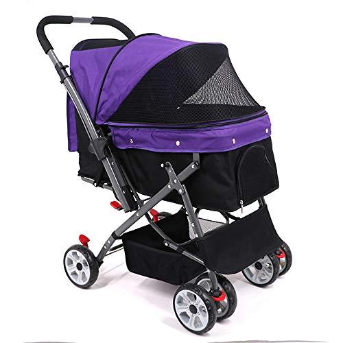 BABYS'q PET Stroller Dog Kinderwagen-Einfaches Falten Drehbares Vorderrad EIN Knopf Bremse-Große Kapazität Speicher Korb Mit Langlebigem Wasserdichtem Pad,Purple