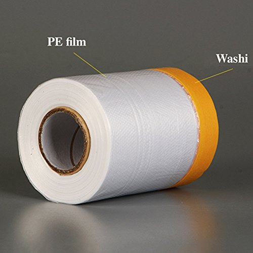 Painting Protection Cover,20M Pre Taped Masking Film Tape Roll Self Adhesive Floor Carpet Protection Film Sheet(20m×110cm)