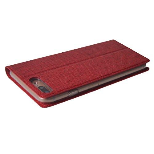 MEIRISHUN Apple iPhone 7 Plus Case,Portafoglio PU Pelle Magnetico Stand Morbido Silicone Flip Bumper Protettivo Gomma Shell Borsa Custodie con Slot per Apple iPhone 7 Plus - Oro Rosso