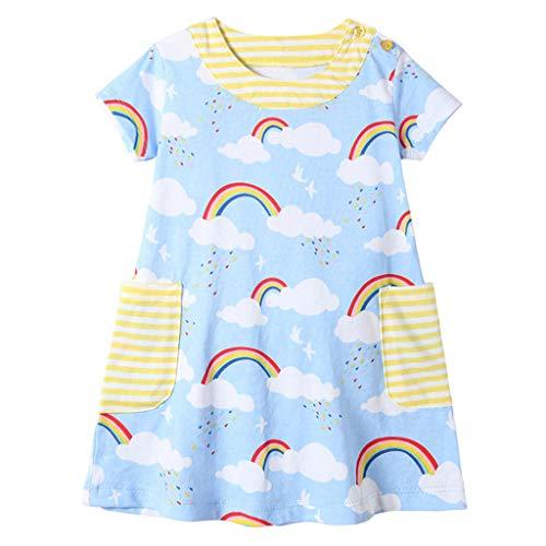 squarex Kinder Sommer Kleinkind Baby Mädchen Kurzarm Regenbogen Print Kleid Kleider Kleidung Nette und Bequeme Freizeitkleidung (Mädchen Slip 3 4t)