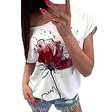 Lazzboy Donna T-Shirt Maglietta Fiore Stampa Manica Corta Casual Floral Manica Corta Largo Top Bluse(XL(46),Wine)