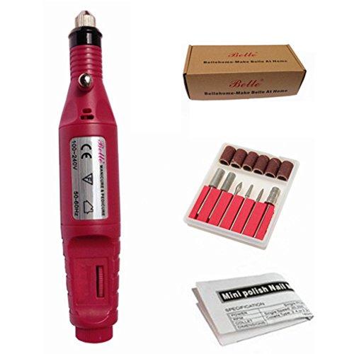 Belle 220V EU Plug électrique Pen Shape ponceuse manucure pédicure Ongles Drill Fichier 3000 à 13 000 tours/min avec 6 Bits, Hot Pink