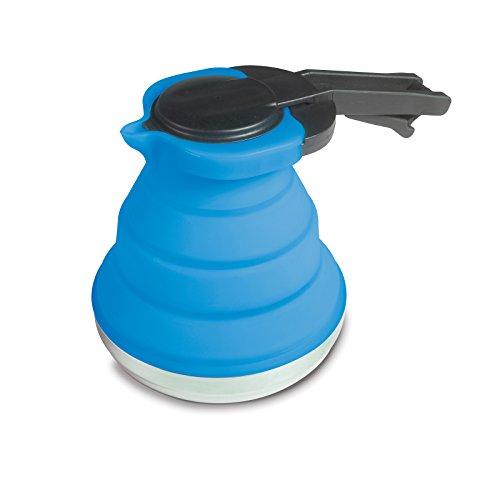 Leichte, faltbare Kanne aus Silikon in blau 1,2 Liter mit Deckel und Griff • Kaffeekanne Teekanne...