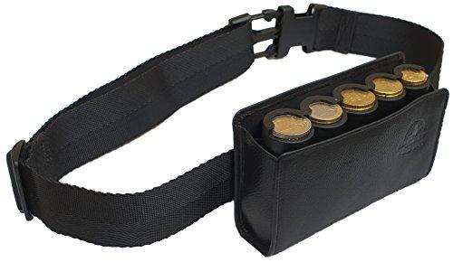 CLAIRE-FONCET Gürtel-Geldbörse aus echtem Rindsleder zusammen mit dem 5-teiligen Münzhalter für Euro Münzen, Geldbörsen-Münzsortierer, Etui und Gürteltasche, Kellnerservice, Kellner, Kellnerin