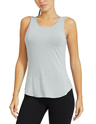 Baleaf Damen Soft Ultraleicht Rückenfreie Backless Yoga Shirts Tops Tee Workout Ärmellos Grau