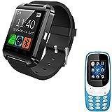 Rhobos A3310 Camera Multimedia Dual Sim Mobile Phone With Bluetooth U8 Touch Screen Wrist Smartwatch For IPhone X & Vivo V11 Mobile