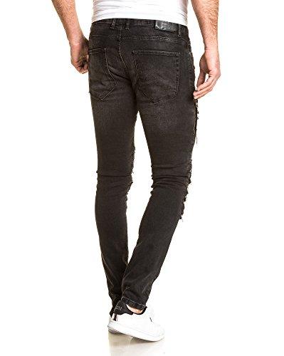 BLZ jeans - Faded schwarze Jeans gerippte Art und Weise zerstören Grau