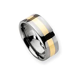 Black Bow Jewellery Company : Titanium and 14k Gold Accent Striped, 8mm Flat Unisex Band - Size Z1